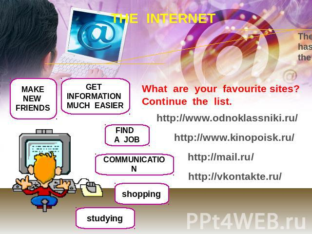 THE INTERNET The Internet is an extremely useful tool that has become an important part of our lives in the last few years What are your favourite sites?Continue the list. http://www.odnoklassniki.ru/ http://www.kinopoisk.ru/ http://mail.ru/ http://…