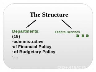 The Structure Departments:(18)-administrativeof Financial Policy of Budgetary Po