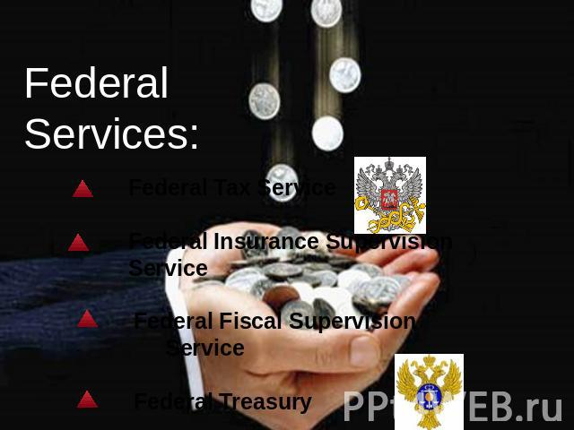 Federal Services: Federal Tax Service Federal Insurance Supervision Service Federal Fiscal Supervision Service Federal Treasury