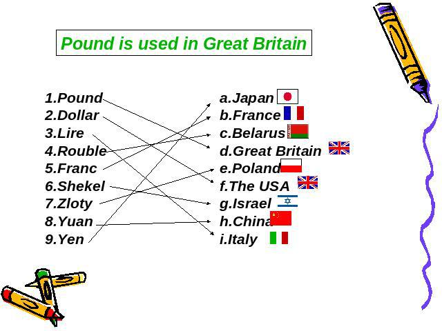 Pound is used in Great Britain 1.Pound2.Dollar3.Lire4.Rouble5.Franc6.Shekel7.Zloty8.Yuan9.Yen a.Japan b.France c.Belarus d.Great Britain e.Poland f.The USA g.Israel h.China i.Italy