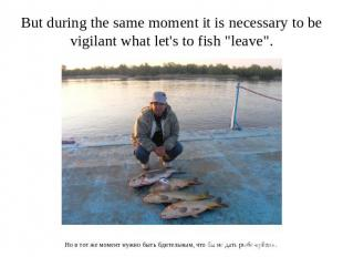 "But during the same moment it is necessary to be vigilant what let's to fish ""le"