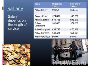Salary Salary depends on the length of service.