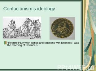 "Confucianism's ideology ""Requite injury with justice and kindness with kindness,"