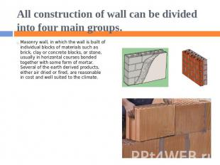 All construction of wall can be divided into four main groups. Masonry wall, in