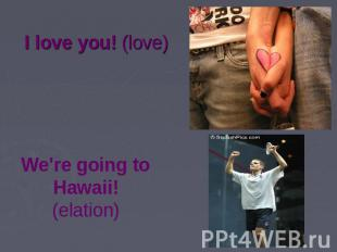 I love you! (love) We're going to Hawaii! (elation)