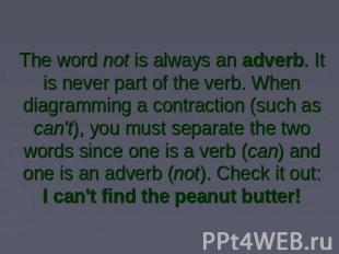 The word not is always an adverb. It is never part of the verb. When diagramming