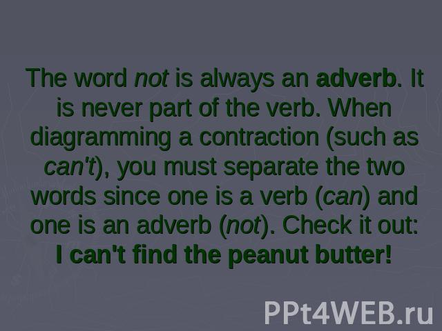 The word not is always an adverb. It is never part of the verb. When diagramming a contraction (such as can't), you must separate the two words since one is a verb (can) and one is an adverb (not). Check it out:I can't find the peanut butter!