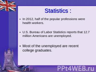 Statistics : In 2012, half of the popular professions were health workers.U.S. B