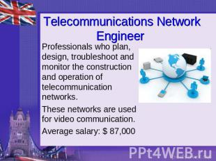 Telecommunications Network Engineer Professionals who plan, design, troubleshoot