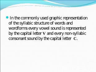 In the commonly used graphic representation of the syllabic structure of words a
