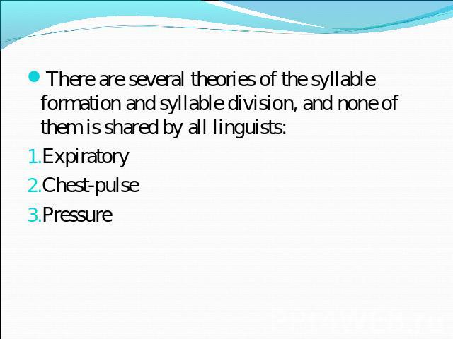 english syllable formal ion Pitch sounds are syllable-forming sounds the vowel is the main syllable-forming element, but in some languages under some conditions sonorants may the most prominent sound being the peak or the nucleus of a syllable is called syllabic syllabic sounds are generally vowels and sonorants.