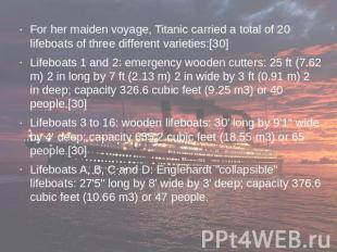 For her maiden voyage, Titanic carried a total of 20 lifeboats of three differen