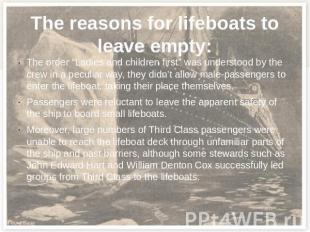 "The reasons for lifeboats to leave empty: The order ""Ladies and children first"""