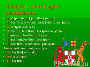 Northern Ireland English pronunciation [i]: pit [pit], fir [fir], fern [firn], f