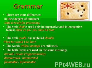 Grammar There are some differences in the category of number: Data is ready for