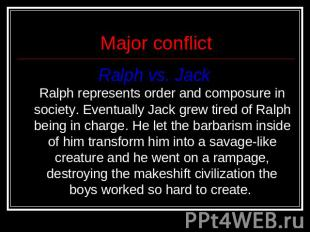 Major conflict Ralph vs. Jack Ralph represents order and composure in society. E