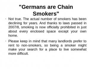 """Germans are Chain Smokers"" Not true. The actual number of smokers has been decl"