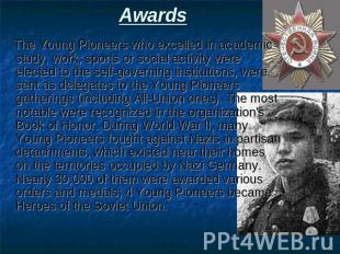 Awards The Young Pioneers who excelled in academic study, work, sports or social