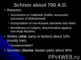 Schism about 700 A.D. Reasons: Succession to Caliphate (Kalifa, successor; succe