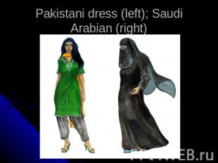 Pakistani dress (left); Saudi Arabian (right)