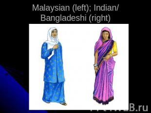 Malaysian (left); Indian/Bangladeshi (right)