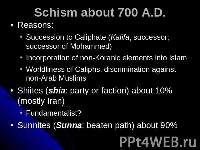 Schism about 700 A.D. Reasons: Succession to Caliphate (Kalifa, successor; successor of Mohammed) Incorporation of non-Koranic elements into Islam Worldliness of Caliphs, discrimination against non-Arab MuslimsShiites (shia: party or faction) about …