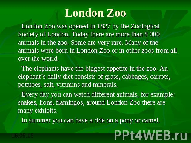 London Zoo London Zoo was opened in 1827 by the Zoological Society of London. Today there are more than 8 000 animals in the zoo. Some are very rare. Many of the animals were born in London Zoo or in other zoos from all over the world. The elephants…