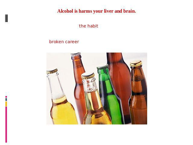 Alcohol is harms your liver and brain.Drinking daily is enough to develop the habit into an addiction. Many people use alcohol to relieve anxiety, become more sociable and confident in dealing with others, help in relaxing one's self and to forget a…
