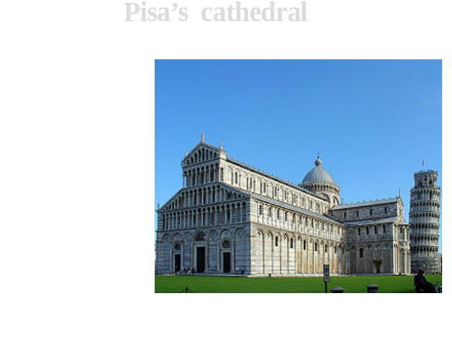 Pisa's cathedral Pisa's cathedral in honour of Assumption of the Blessed Maidens Maria cathedral of Pisa, a part of ensemble of area Piazza dei Miracoli. Into ensemble also enter a falling tower and baptistery.