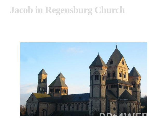 Jacob in Regensburg Church Sacred Jacob's church — Romanesque a basil in Regensburg, based 1070, its construction carry to 1175-1180 Church represents a fine example of Romanesque architecture: three-niefes a basil with three apses, towers in the ea…