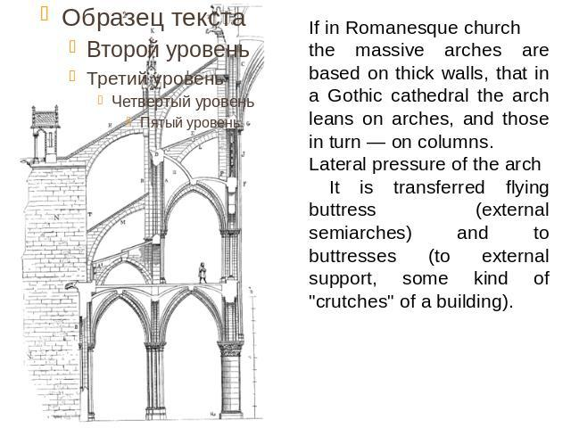 If in Romanesque church the massive arches are based on thick walls, that in a Gothic cathedral the arch leans on arches, and those in turn — on columns. Lateral pressure of the arch It is transferred flying buttress (external semiarches) and to but…