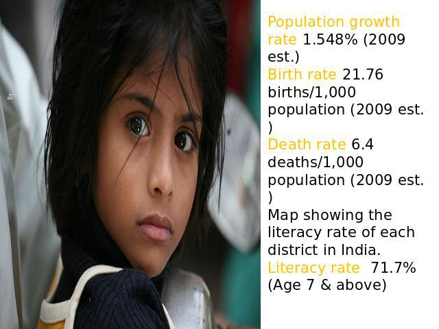 Population growth rate 1.548% (2009 est.)Birth rate 21.76 births/1,000 population (2009 est.)Death rate 6.4 deaths/1,000 population (2009 est.)Map showing the literacy rate of each district in India.Literacy rate 71.7% (Age 7 & above) )