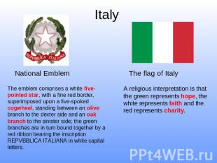 Italy National Emblem The emblem comprises a white five-pointed star, with a fin